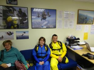 Carol and Dave suited and booted before their skydive.
